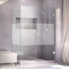 Dreamline Unidoor Plus 30 3 8 In X 33 In X 72 In Hinged Shower Enclosure With Half Frosted Frameless Shower Enclosures Corner Shower Enclosures Shower Doors