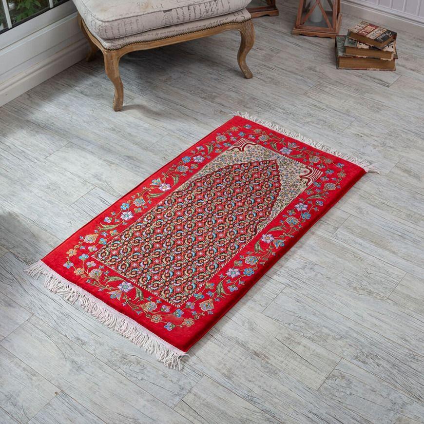 سجادة صلاة تركية طبية فوم لون أحمر مورد Bohemian Rug Carpet Rugs