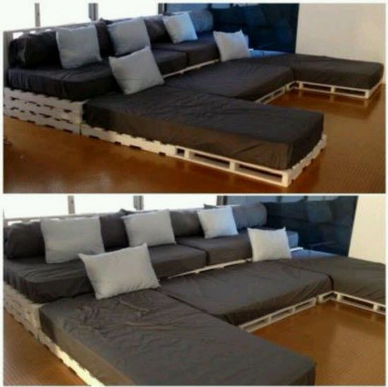 DIY Sectional from Pallets and Twin Mattresses u2013 Home Owner Buff : diy sectional - Sectionals, Sofas & Couches