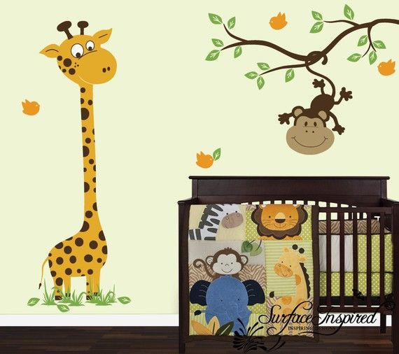 Wall Decal Nursery Giraffe And Monkey On A Branch Decal Wall - Jungle themed nursery wall decals