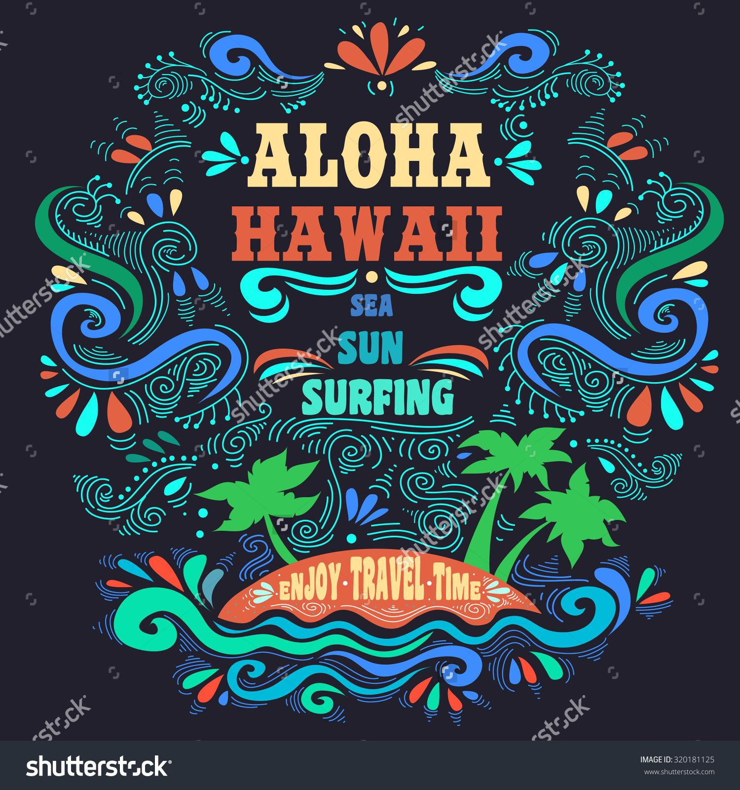 T shirt design hawaii - Aloha Hawaii Hand Draw Vintage Lettering With Island Inspirational And Motivational Tropical Print For T Shirts And Bags Hipster Style Stock Vector