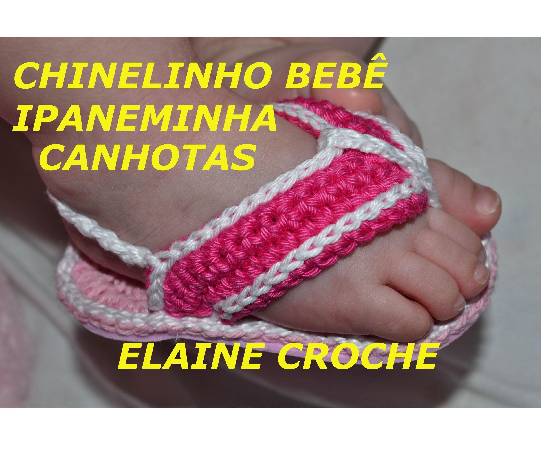 CROCHE PARA CANHOTOS - LEFT HANDED CROCHET - CHINELINHO BEBÊ IPANEMINHA . 7ff923cb2b1