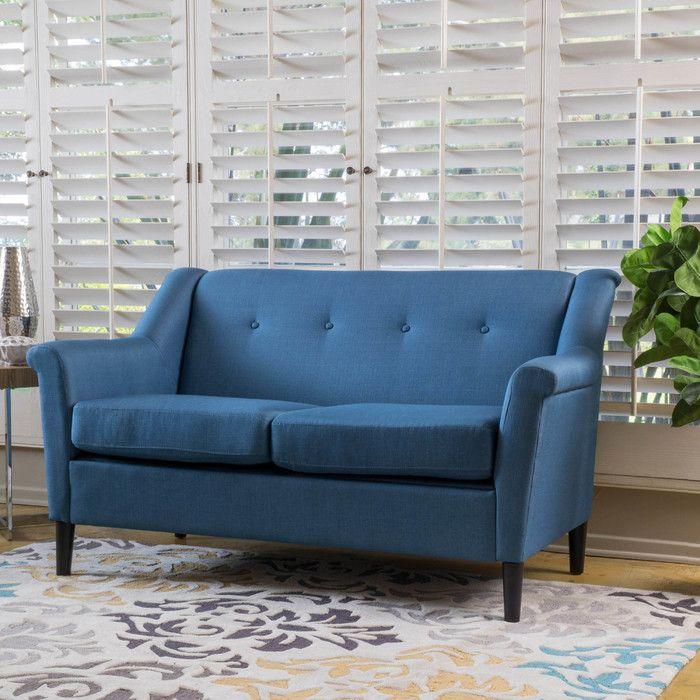 Home Loft Concepts Emily Modern Loveseat Reviews Wayfair Blue Fabric Sofa Furniture Upholstered Sofa