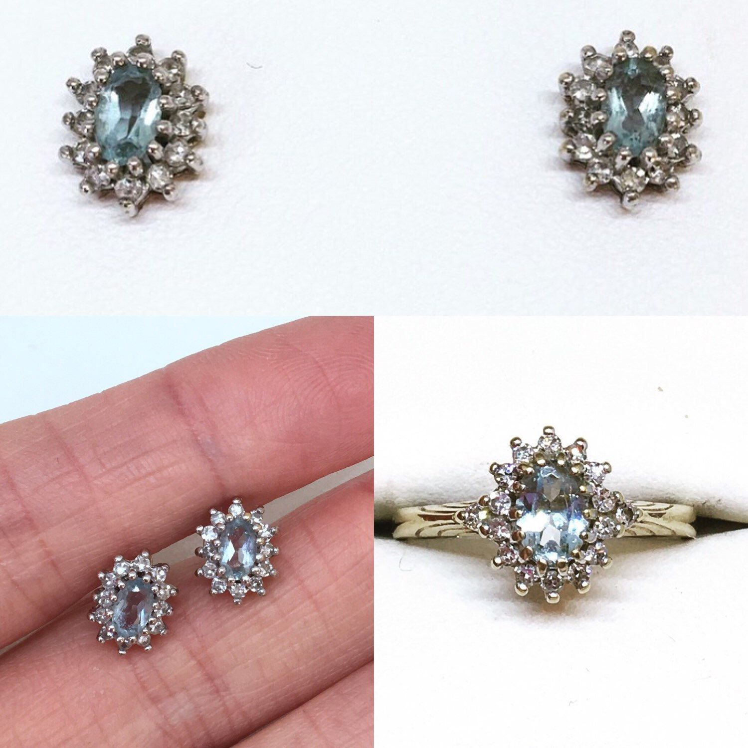 Vintage 9ct Gold Aqua & Diamond Cluster Engagement Ring, Vintage ...