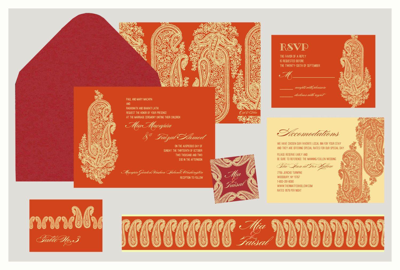 Indian Wedding Invitation Kashmir Motif Inspired by InvitationShop ...