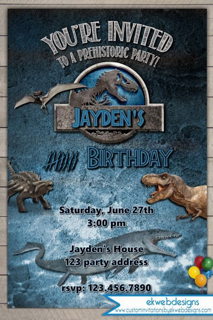 Jurassic World Birthday Invitation Jurassic Park Invitation