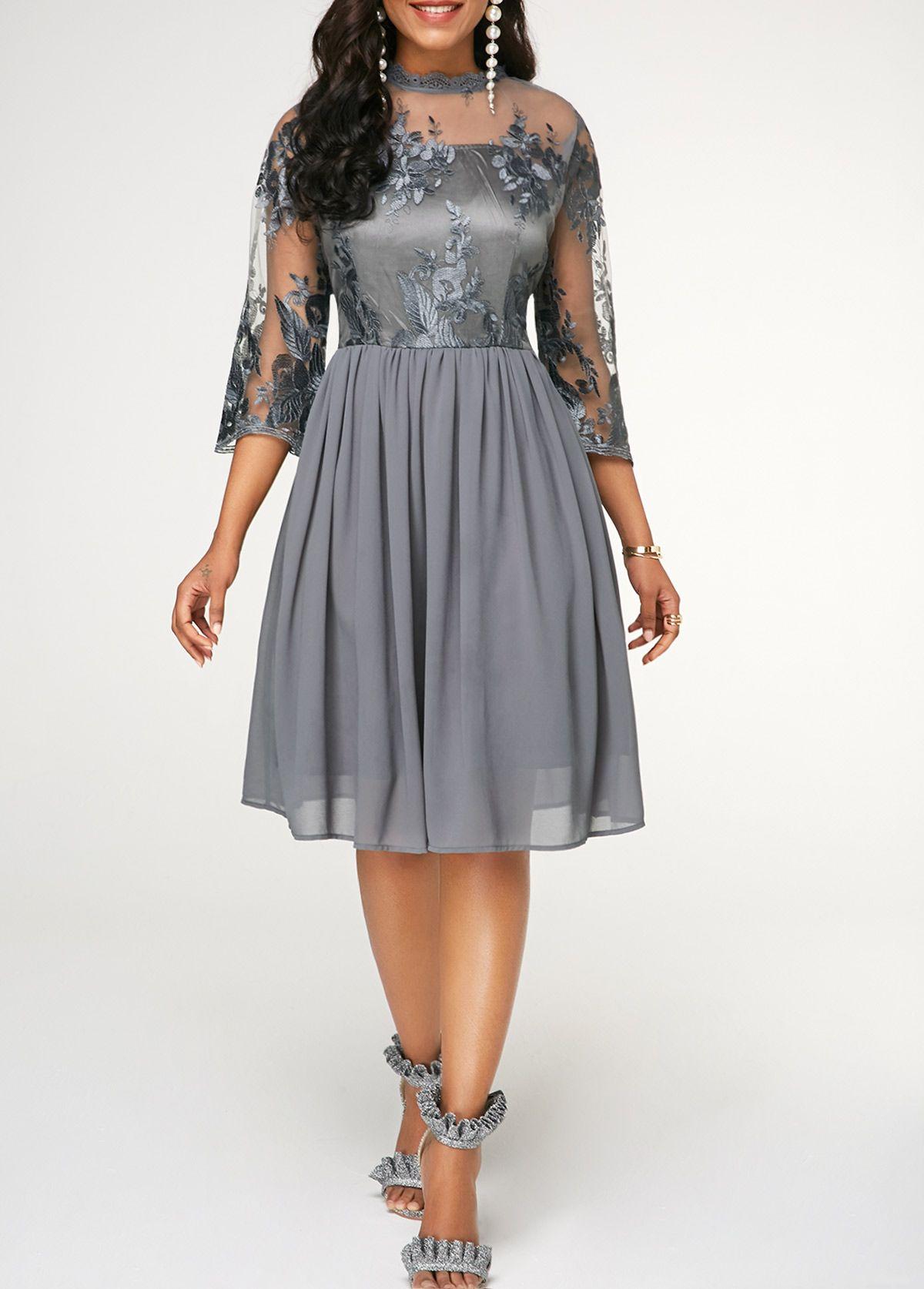 b9ae78637fd Keyhole Back High Waist Chiffon Dress