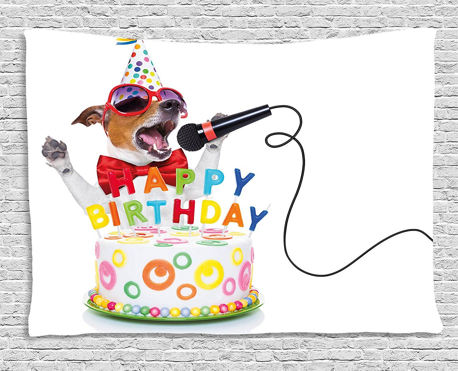 Birthday Decorations For Kids Tapestry By Ambesonne Musician Singer Dog With Glasses And Part Happy Birthday Dog Happy Birthday Images Happy Birthday Pictures