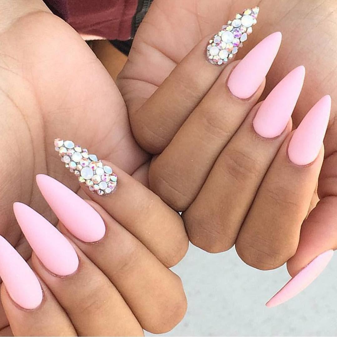 T H E N A I L B A R On Instagram Baby Pink Matte Stiletto Nails With Swarovski Crystal Featur Baby Pink Nails Matte Stiletto Nails Baby Pink Nails Acrylic