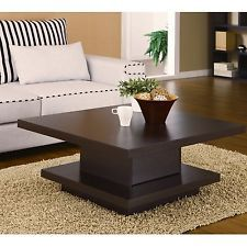 Square Tail Table Coffee Center Storage Living Room Modern Furniture Wood