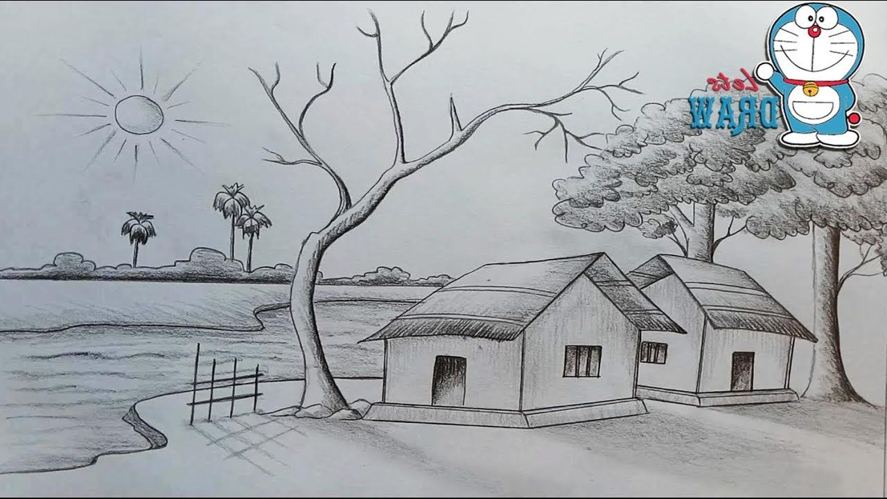 Scenery Pencil Easy Pencil Nature Drawing For Kids ...