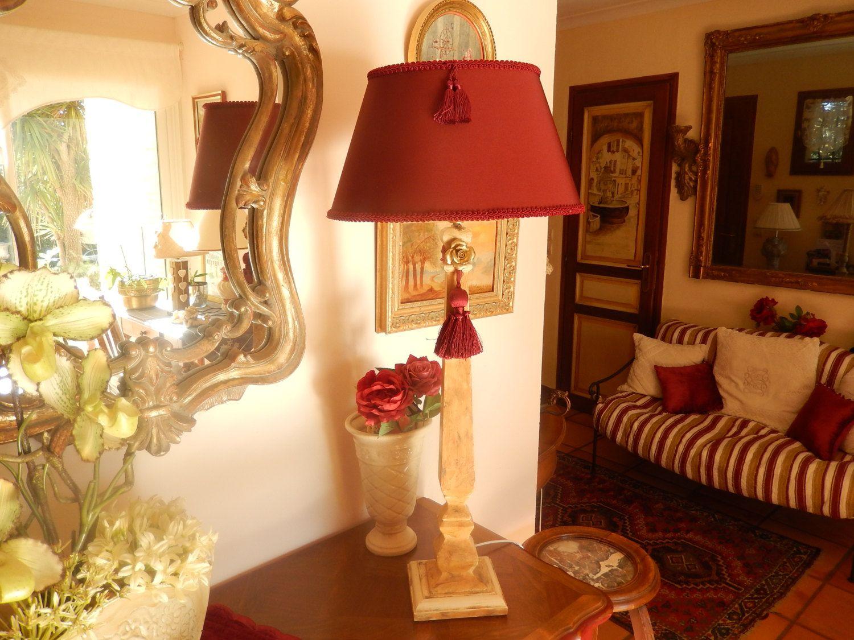 Grande lampe de salon pied carré en bois peint et patine marbrée ...