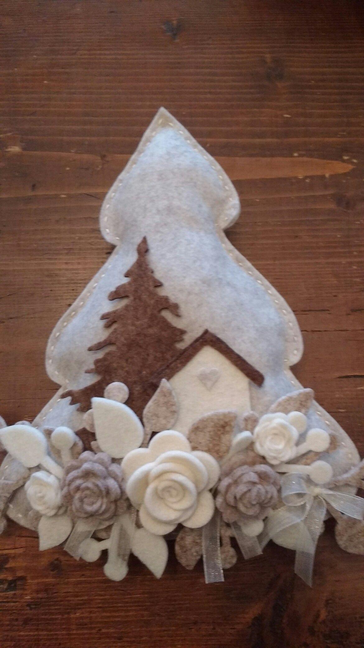 Decorazioni Natalizie In Feltro Pinterest.Albero Natale Feltro Hand Crafts Alberi Di Natale In Feltro