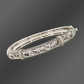 Andrea Candela 18kt Gold And Textured Sterling Diamond Accent Bangle Bracelet