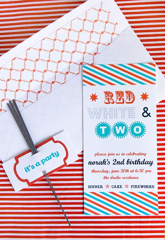 red, white, and two invitations Red, White, and Blue Party
