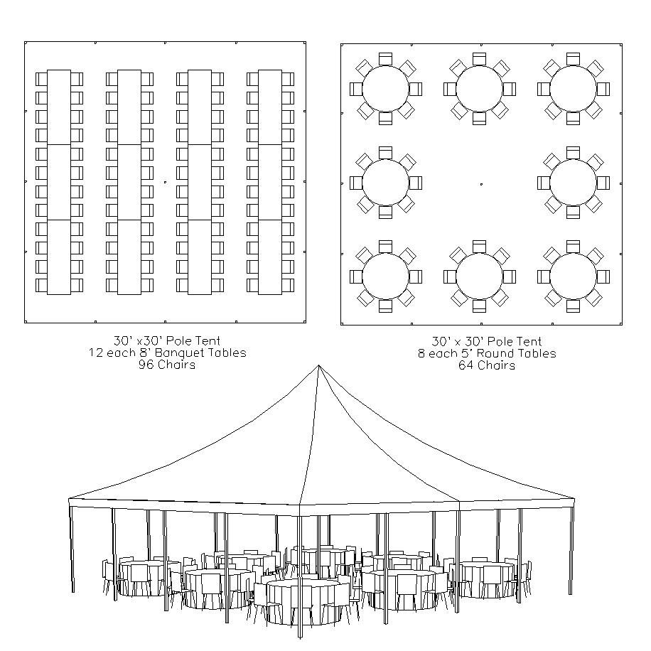 Basic layout of a 30X30 frame tent. Seats around 90 guests ...