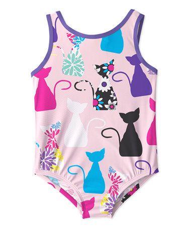 Love this Light Pink Cat One-Piece - Toddler & Girls on #zulily! #zulilyfinds