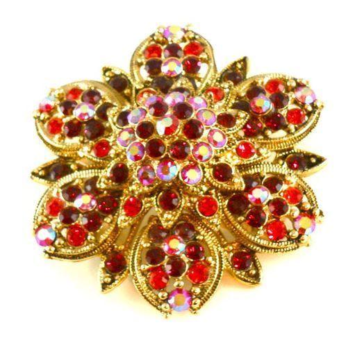 Red Gold Crystal Flower Brooch 190BH - LAURA LEEDS