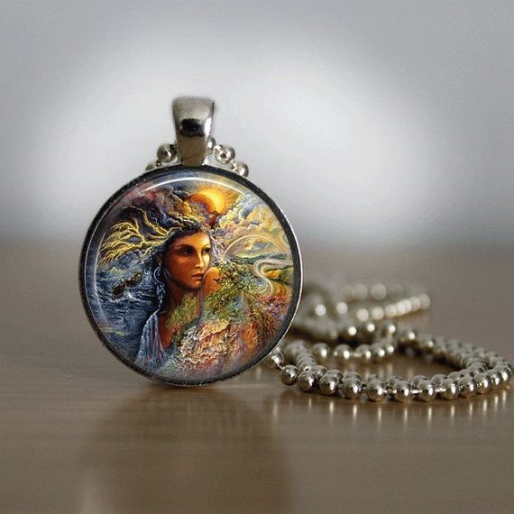 Gorgeous Wiccan image!  Glass Tile Necklace Moon Necklace Glass Tile by bluerosebeadery