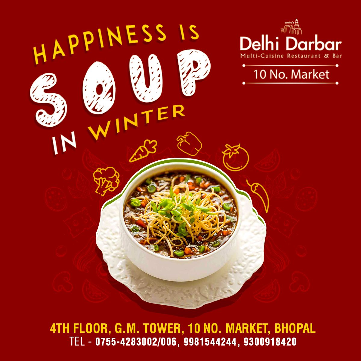 Soup a perfect start for wonderful dining. Treat yourself to rich divine flavor. Head straight to A