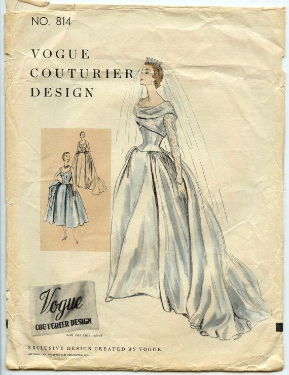 1950s Wedding Gown Pattern Vogue Couturier Design 814 Misses Wedding ...