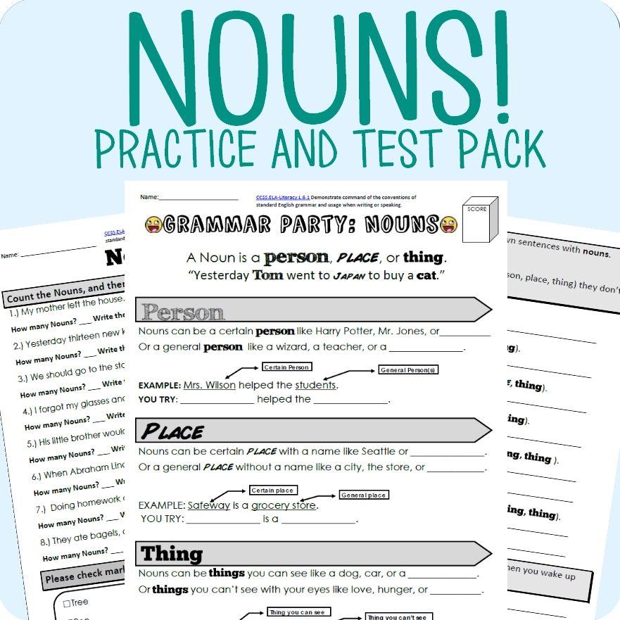 nouns grammar worksheet packet test teaching critical literacy and writing grammar. Black Bedroom Furniture Sets. Home Design Ideas