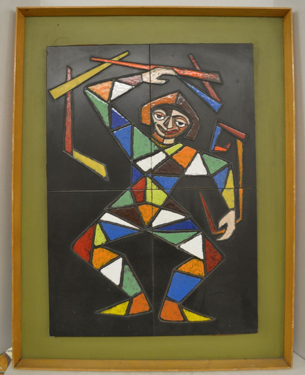 Framed mid century ceramic tiles clown or harlequin in enamel framed mid century ceramic tiles clown or harlequin in enamel ebay dailygadgetfo Image collections