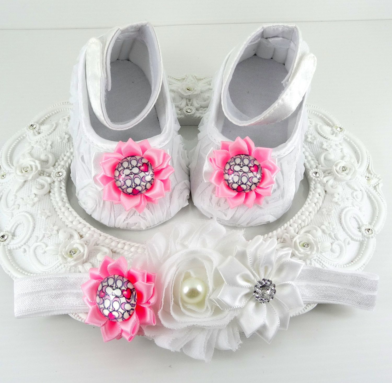 Baby Girl Baptismal Shoes and Headband Set Newborn Baby Girl Shoes