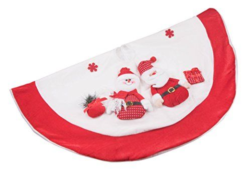 Premium Santa and Snowman Christmas Tree Skirt 42 Red White -- This