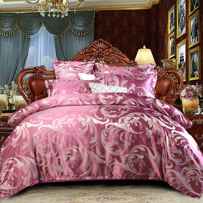 4Pcs//set Luxury Quilt Wedding Bedding Quilt Duvet Cover Set Single Queen Size