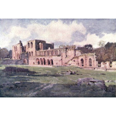 English Lakes 1908 Furness Abbey Canvas Art - A Cooper (18 x 24)