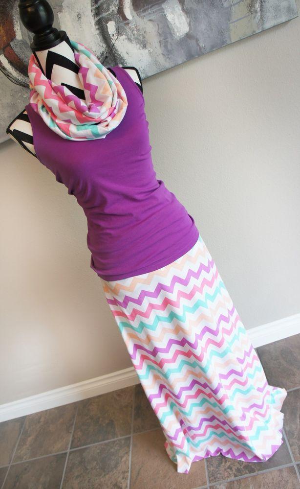 Rainbow Sherbet Chevron Womens Maxi Skirt OPTIONAL Scarf Headband Maternity Plus #Handmade #FullSkirt