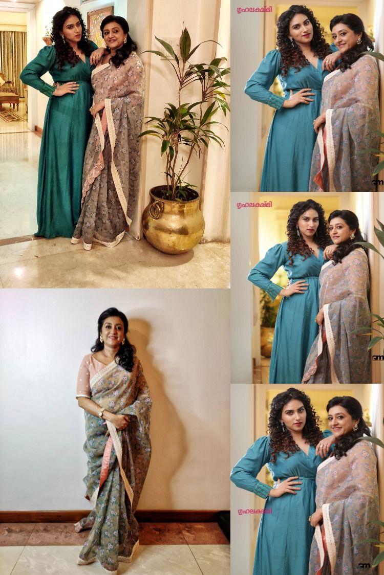 The Ever Gorgeous Parvathy Jayaram With Her Daughter Malavika Jayaram Chakki For Grihalakshmi Magazine So Happy To Dress Them U Partywear Style Designer Wear