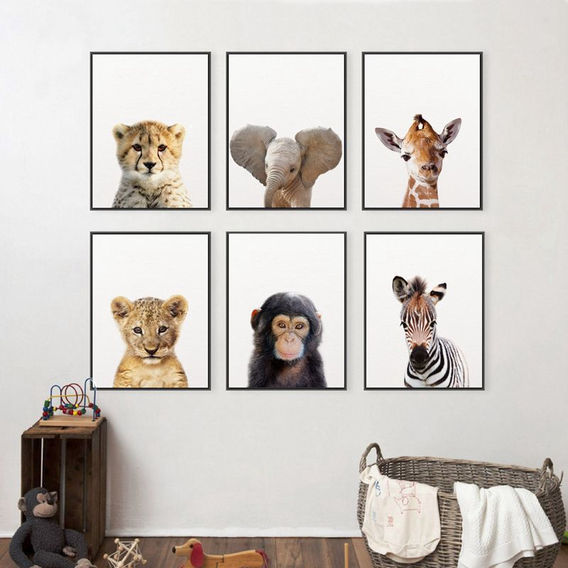 Baby Safari Animals Canvas Wall Art Collection Homuu Kids Canvas Painting Baby Animal Art Kids Room Paint