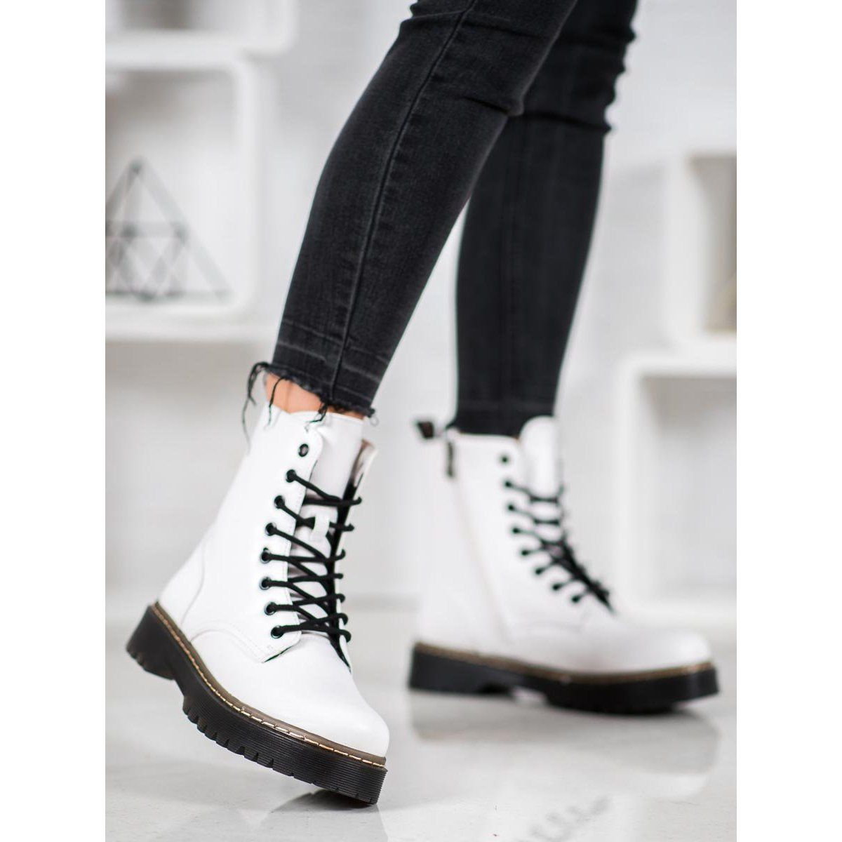 Shelovet White Workers Boot Shoes Women Boots Wearables Fashion