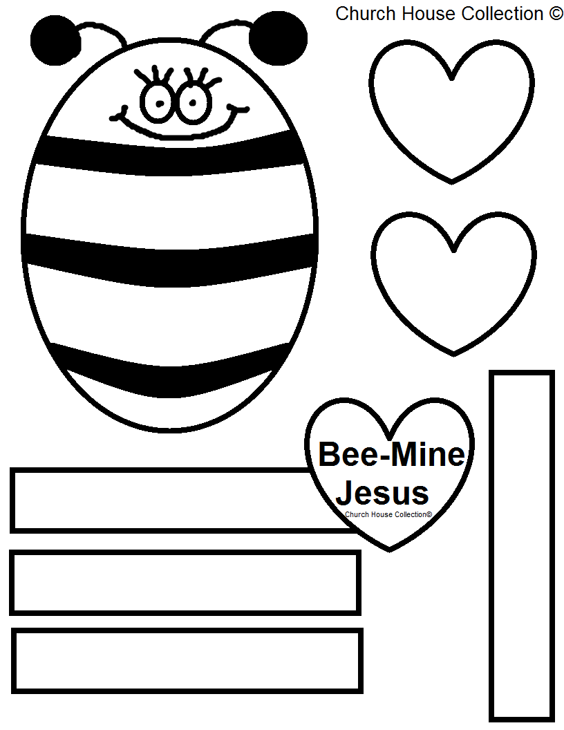 Childrens christian valentine coloring pages - Bee Mine Jesus Cutout Activity Sheet For Kids In Sunday School Or Children Church Printable Bee Template Hearts