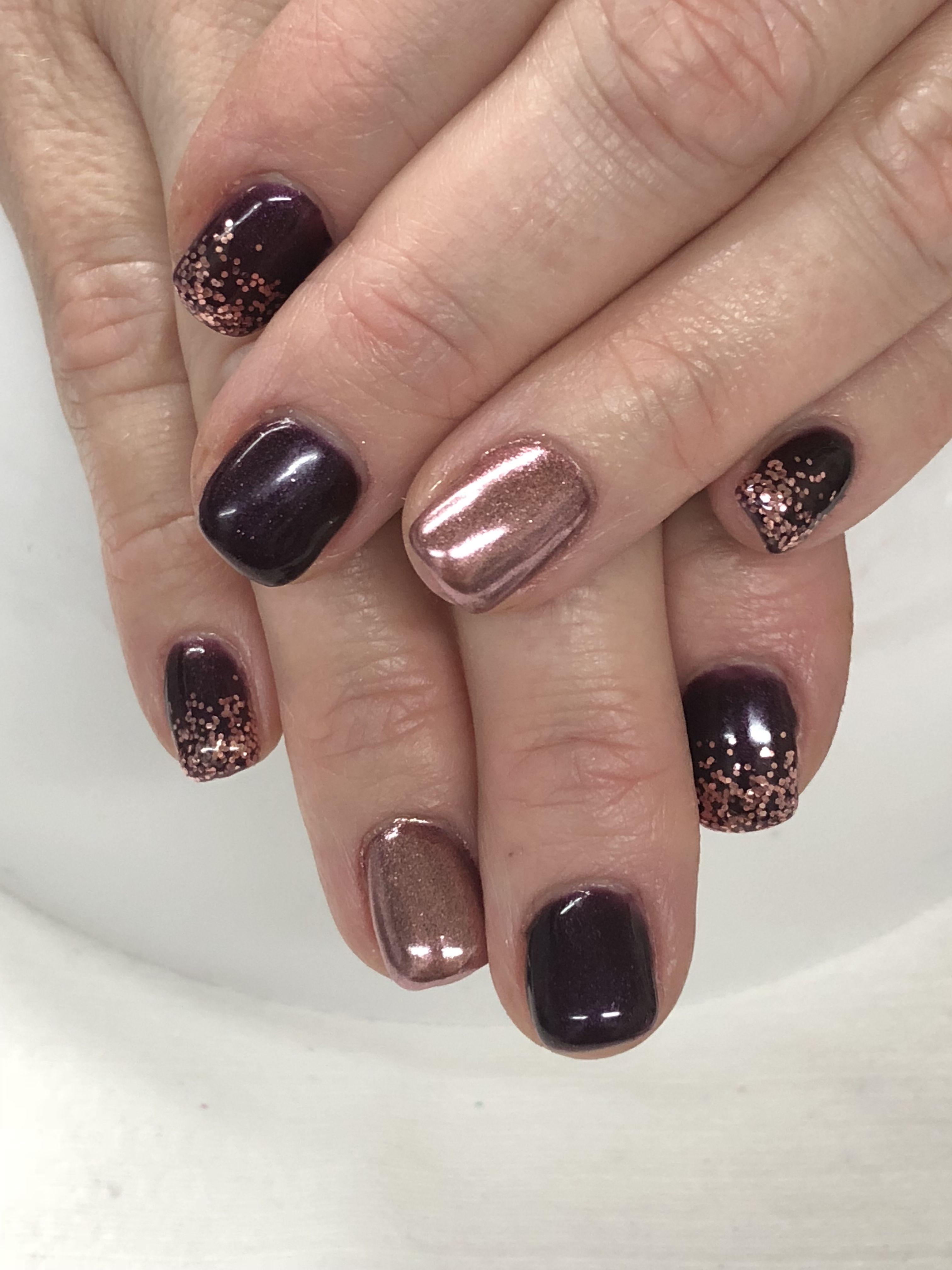 Fall Plum Rose Gold Glitter Chrome Gel Nails Light Elegance Main Attraction Bette Davis Hard Gel Nails Fall Gel Nails Gel Nail Light