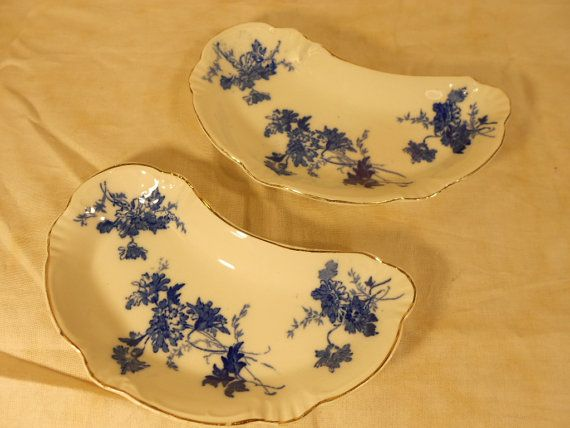 Pair of Antique Meakin Flow Blue Bone Plates by ToEverySeason, $32.00