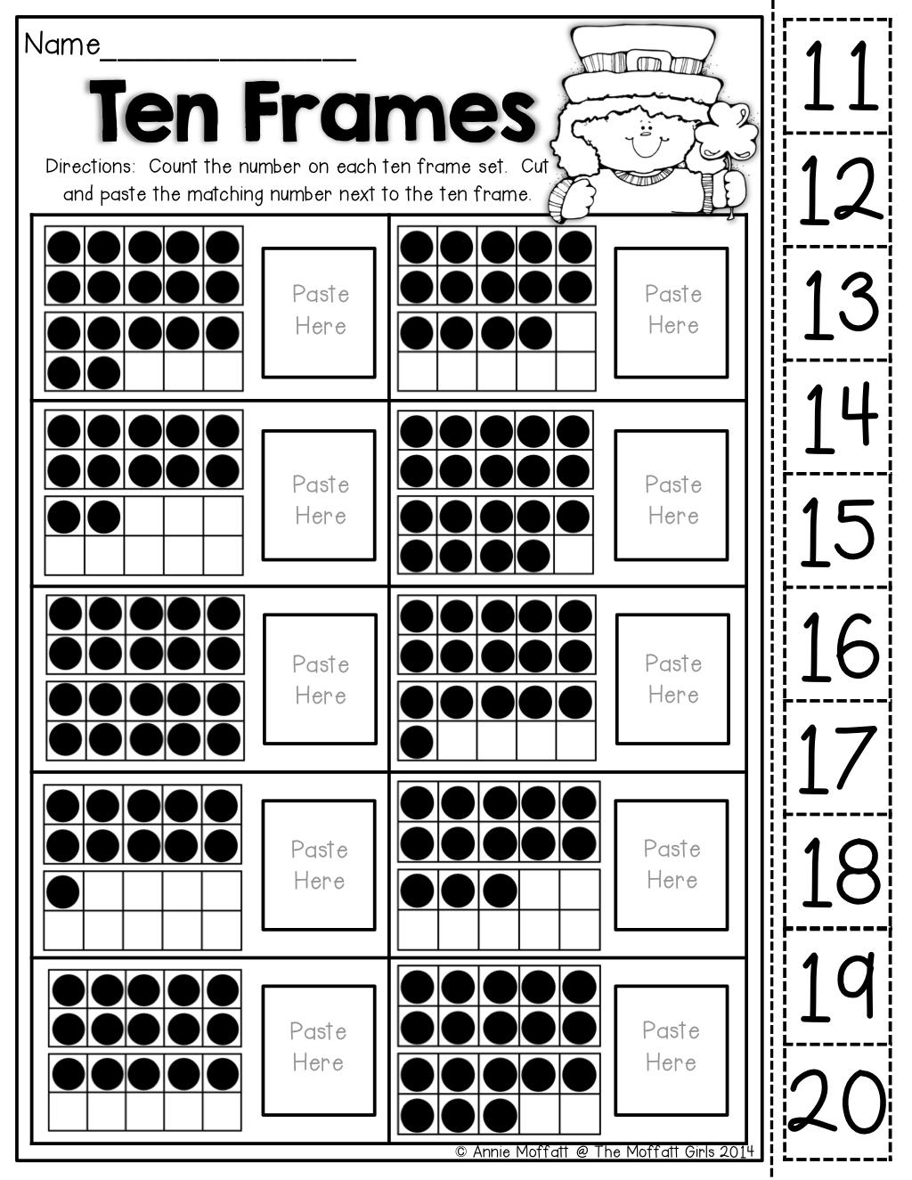 Workbooks ten frame worksheets printables : Ten Frames (cut and paste!) | Teaching ideas | Pinterest | Ten ...