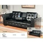 "Challenger collection Black leather like vinyl upholstered sofa with fold down center drink arm and storage in the arms. This set features the sofa wit ha center fold down drink arm and the side arms have storage inside. Sofa measures 87"" x 35"