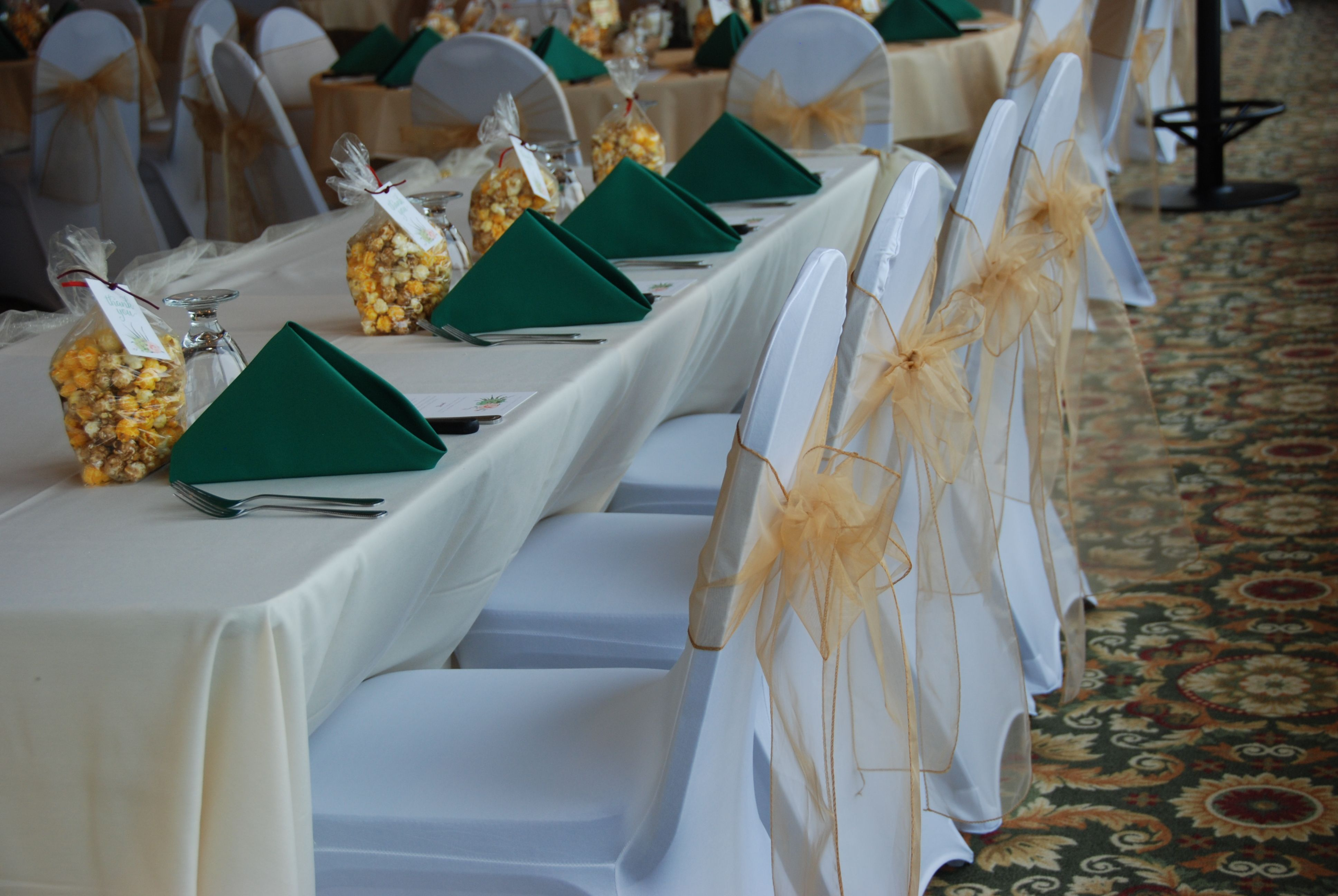 Wedding Chair Cover Hire Kings Lynn Beige Accent Canada Decor Covers Spandex Gold Accents Sash And White Green Napkins