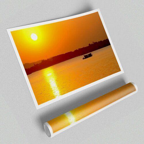 Fotodruck Sonnenaufgang mit Fischerboot East Urban Home Größe: 84,1 cm H x 118,9 cm B