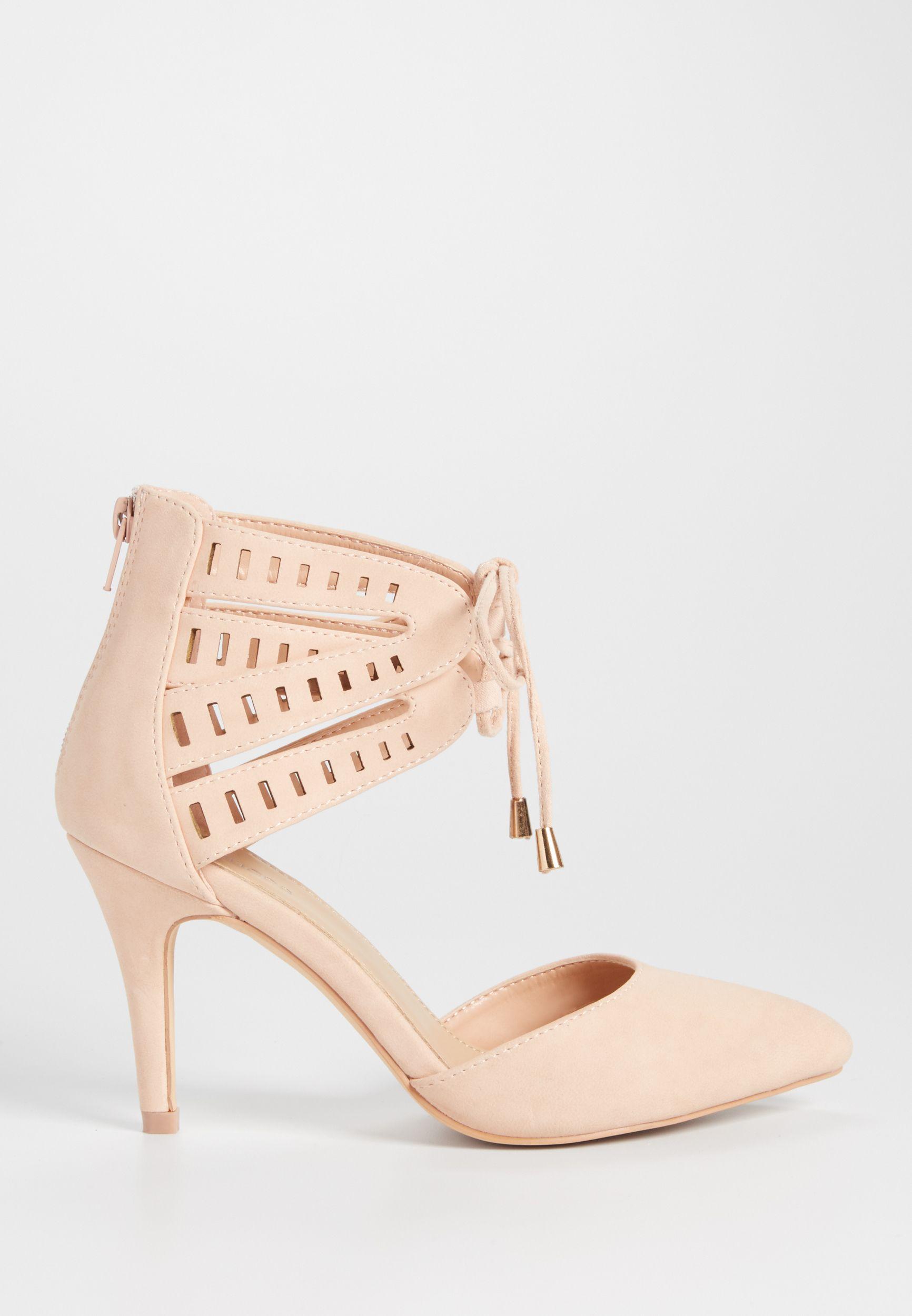 8a7b3f4fdc7b Cameron lace up laser cut heel in blush (original price