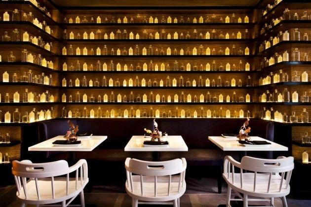 Glass Bottles On Display Classy Sobou New Orleans Restaurant