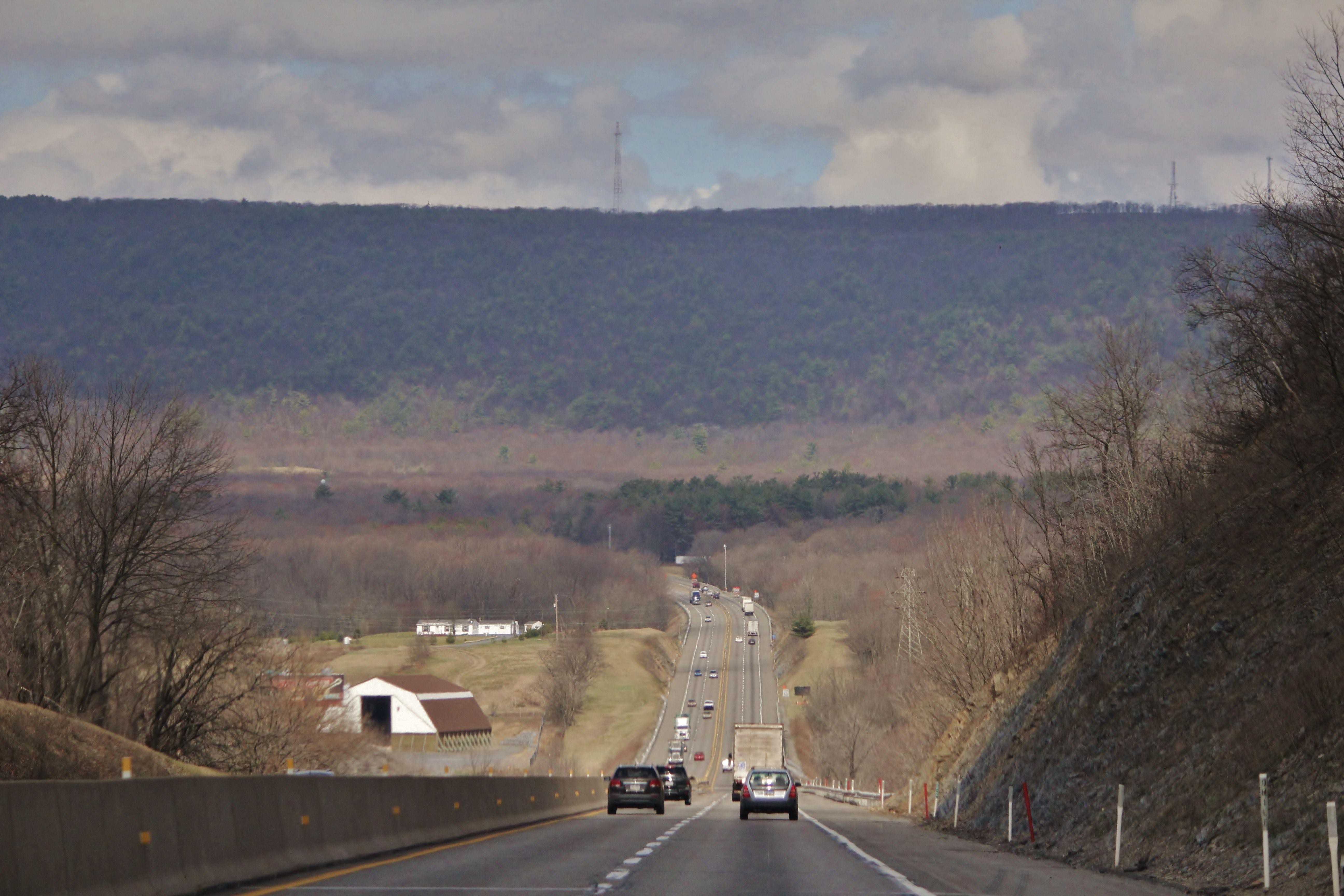 View before going through the Lehigh Tunnel ahead.  Pennsylvania
