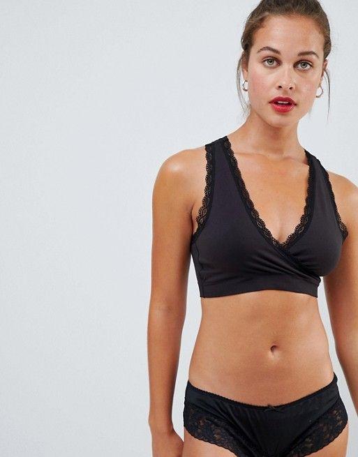 fd6a331f3b32 Mamalicious maternity lace trim soft nursing bra in black ...