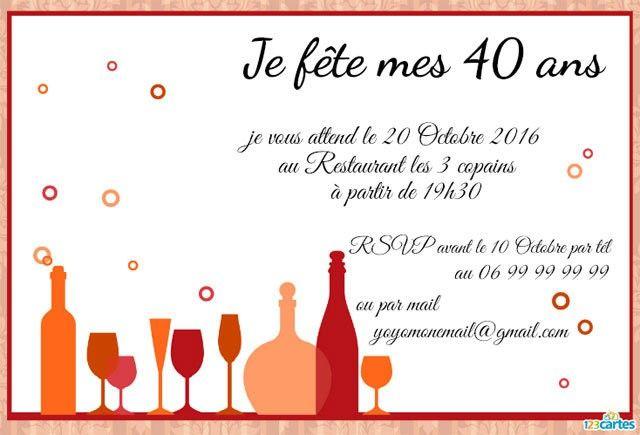 invitation anniversaire 40 ans tous au