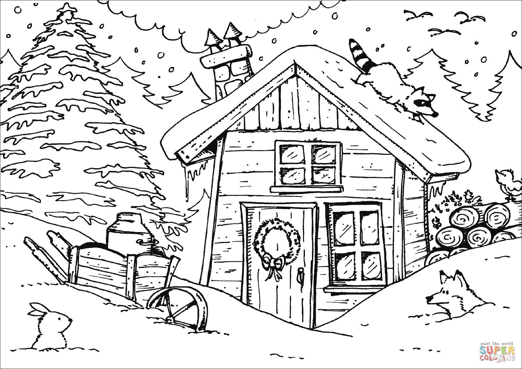 Dibujo De Cabana De Invierno Para Colorear Dibujos Para Colorear Imprimir Gratis Dibujos De Invierno Dibujos Dibujos Para Colorear
