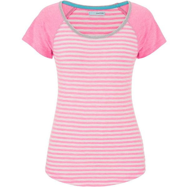 maurices Baseball Tee With Stripes And Neon Stitching ($17) ❤ liked on Polyvore featuring tops, t-shirts, shirts, pink, pink t shirt, stripe t shirt, pink shirt, striped t shirt and cotton t shirt
