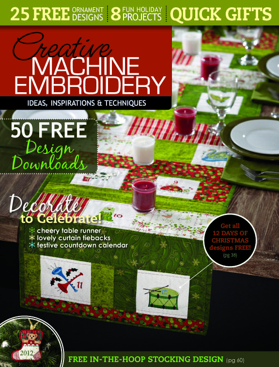 Free 12 Days Of Christmas Table Runner And Embroidery Designs Quick Gifts Christmas Designs Christmas Table Runner